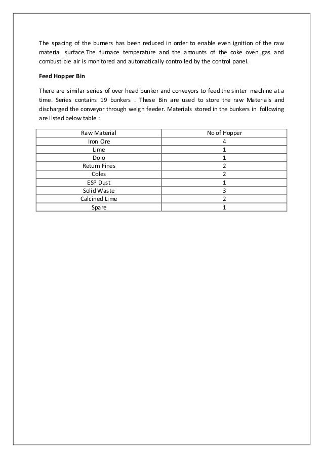 Sinter Plant,Lime & Dolo Plant industrial Training Report