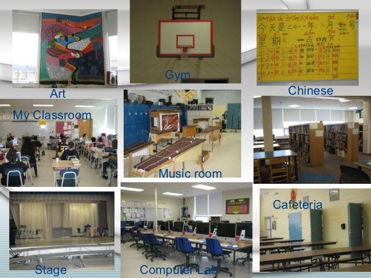 Music room Chinese Library Cafeteria Computer Lab Stage My Classroom Gym Art