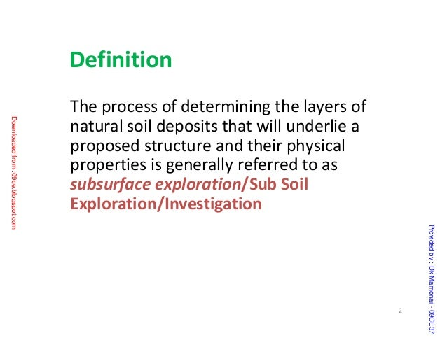 subsurface exploration ppt