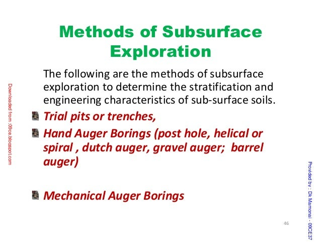 surface and subsurface exploration