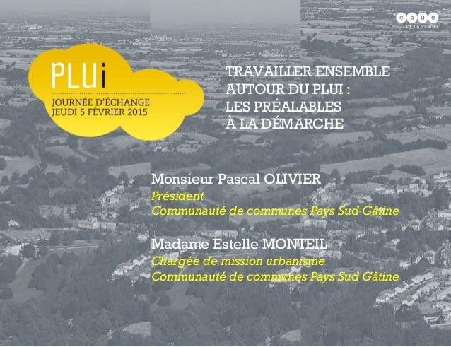 Monsieur Pascal OLIVIER Président Communauté de communes Pays Sud Gâtine Madame Estelle MONTEIL Chargée de mission urbanis...
