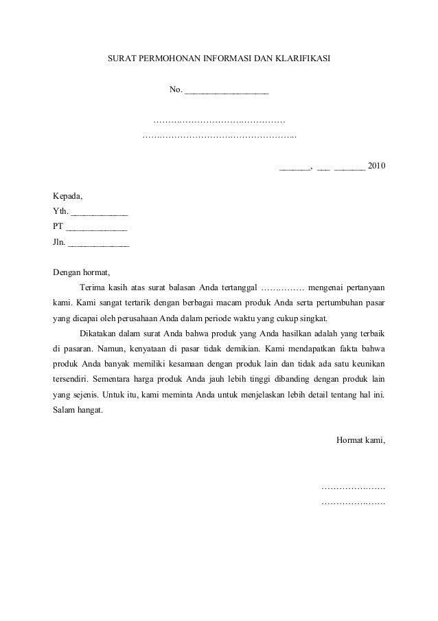 3 surat permohonan informasi dan klarifikasi