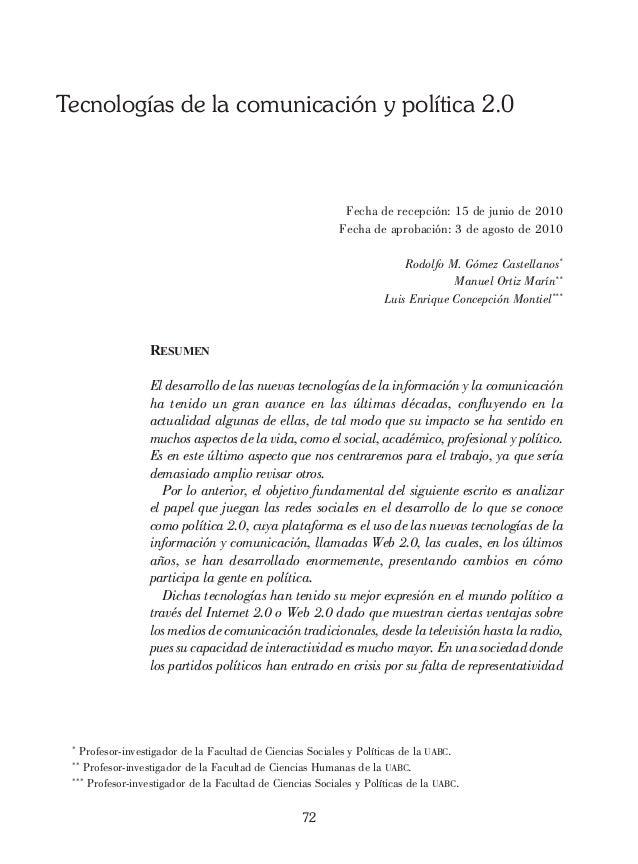 Tecnologías de la comunicación y política 2.0                                                            Fecha de recepció...