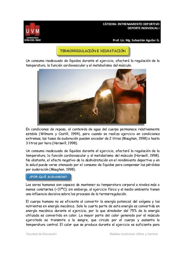 CÁTEDRA: ENTRENAMIENTO DEPORTIVO DEPORTE INDIVIDUAL I Prof. Lic. Mg. Sebastián Aguilar G.. Facultad de Educación Bebidas I...