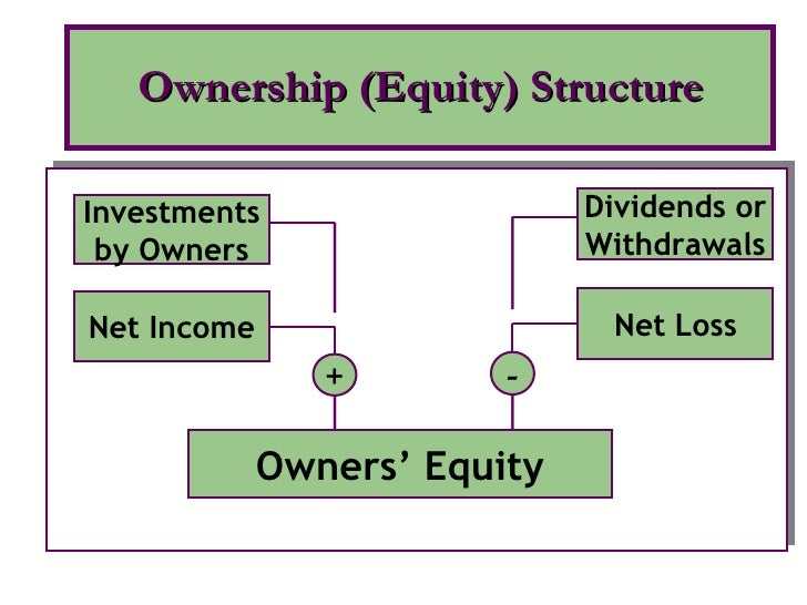 Ownership (Equity) Structure Owners' Equity Net Income Investments by Owners + Net Loss Dividends or Withdrawals -