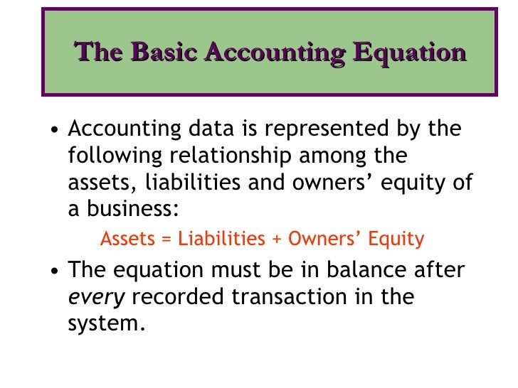 <ul><li>Accounting data is represented by the following relationship among the assets, liabilities and owners' equity of a...
