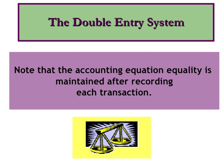 The Double Entry System Note that the accounting equation equality is  maintained after recording each transaction.