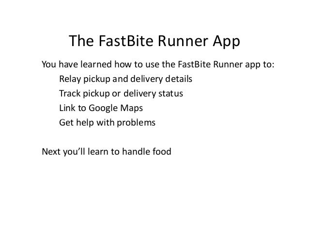The Fast Bite Runner App - Run planner google maps