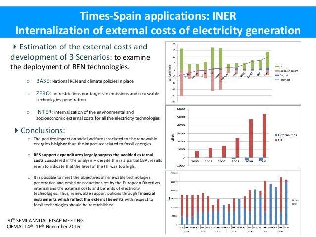 70th SEMI-ANNUAL ETSAP MEETING CIEMAT 14th -16th November 2016 Times-Spain applications: INER Internalization of external ...