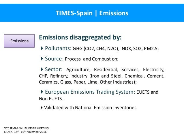 70th SEMI-ANNUAL ETSAP MEETING CIEMAT 14th -16th November 2016 TIMES-Spain   Emissions Emissions disaggregated by: Pollut...