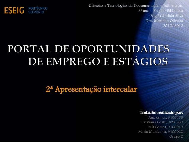 Ciências e Tecnologias da Documentação e Informação                                        3º ano – Projeto Biblioteca    ...
