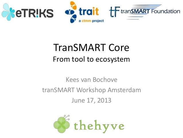 TranSMART Core From tool to ecosystem Kees van Bochove tranSMART Workshop Amsterdam June 17, 2013