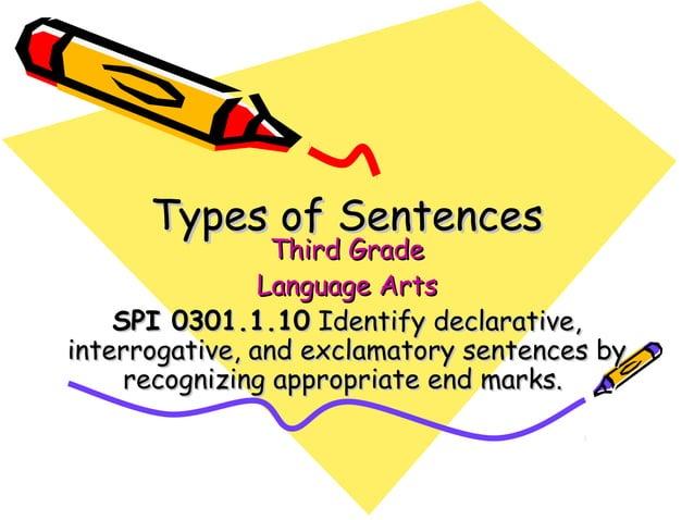 Types of SentencesTypes of Sentences Third GradeThird Grade Language ArtsLanguage Arts SPI 0301.1.10SPI 0301.1.10 Identify...