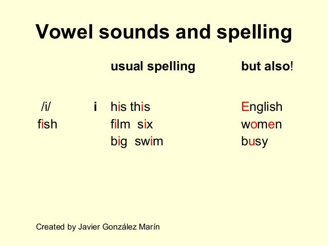 Vowel sounds and spelling usual spelling but also! /i/ fish i his this film six big swim English women busy Created by Jav...