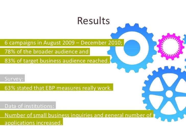 Results <ul><li>6 campaigns in August 2009 – December 2010; </li></ul><ul><li>78% of the broader audience and </li></ul><u...