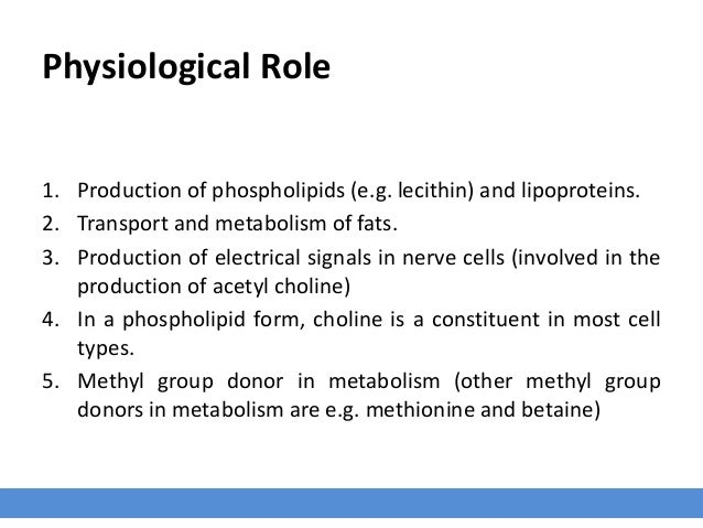 Physiological Role 1. Production of phospholipids (e.g. lecithin) and lipoproteins. 2. Transport and metabolism of fats. 3...