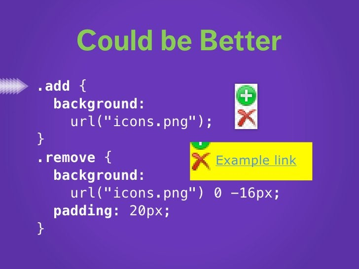 """Just Perfect .add {   background:     url(""""icons.png""""); } .remove {             Example link   background:     url(""""icons...."""