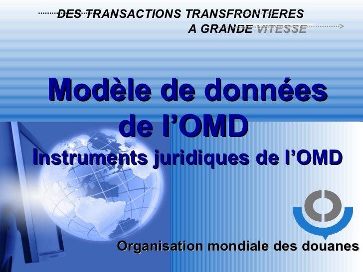 Organisation mondiale des douanes DES TRANSACTIONS TRANSFRONTIERES A GRANDE  VITESSE Modèle de données de l'OMD  I nstrume...
