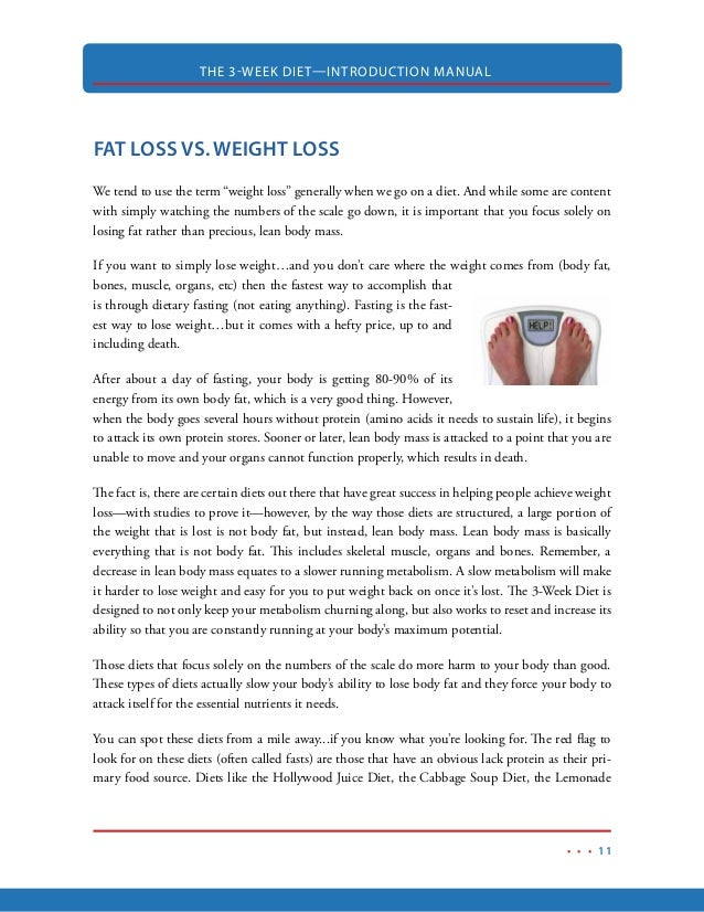 14. THE 3-WEEK DIET—INTRODUCTION MANUAL 11 FAT LOSS ...