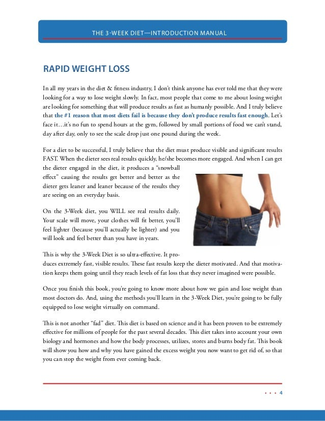 7. THE 3-WEEK DIET—INTRODUCTION MANUAL 4 RAPID WEIGHT LOSS ...