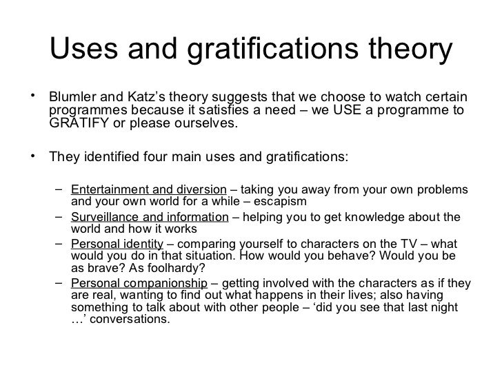 gratification theory report Lesson five: social process theories of crime  as i do self-report surveys of  deviants are people who pursue short-term gratification in the most.