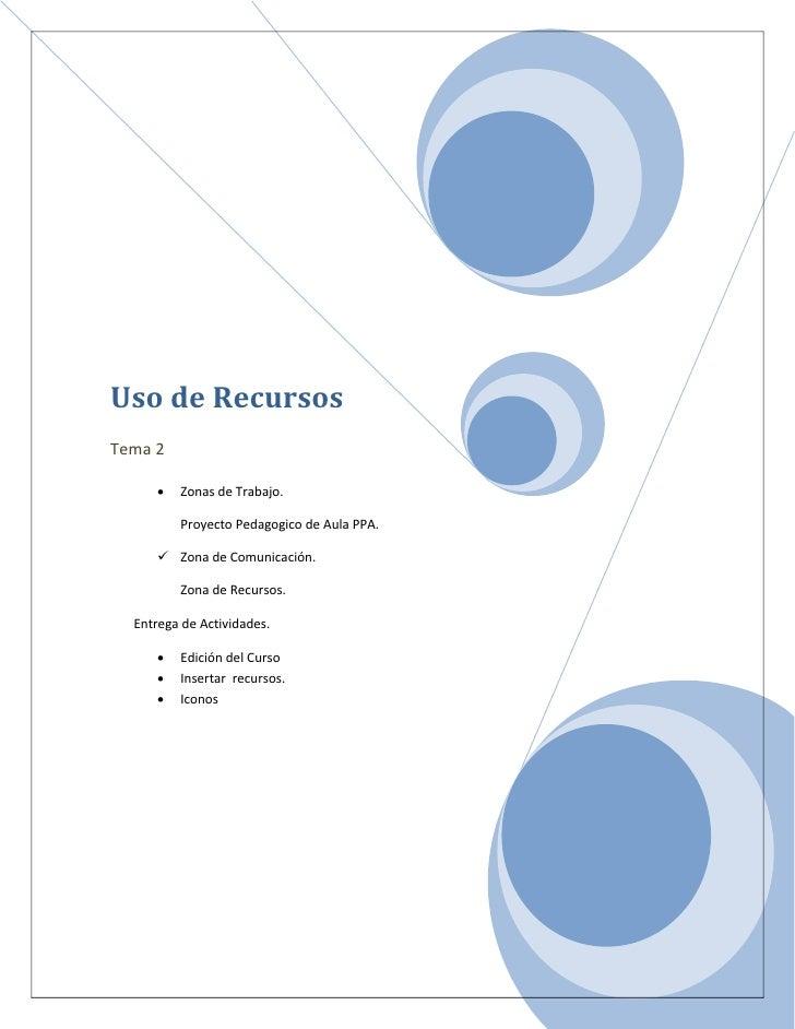 Uso de Recursos Tema 2       •   Zonas de Trabajo.           Proyecto Pedagogico de Aula PPA.        Zona de Comunicación...