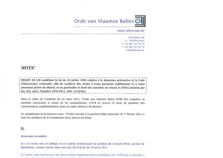"""Note OVB sur le projet """"salduz"""""""