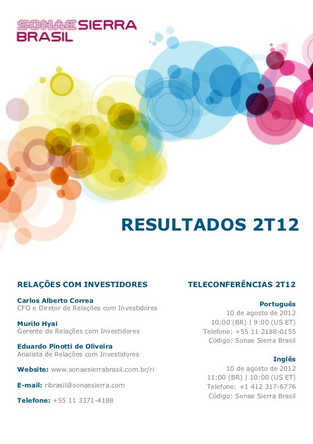 Do                               RESULTADOS 2T12RELAÇÕES COM INVESTIDORES                    TELECONFERÊNCIAS 2T12Carlos A...