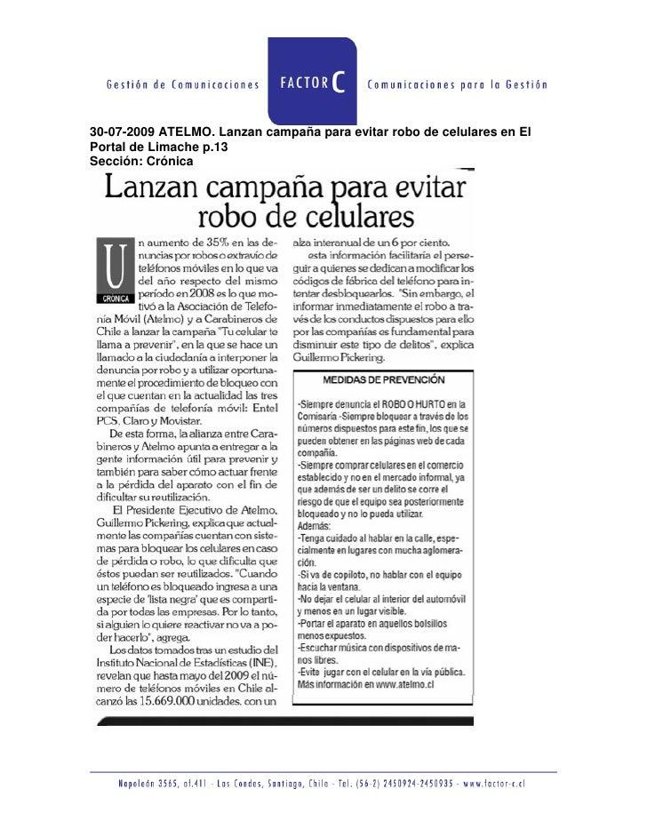 30-07-2009 ATELMO. Lanzan campaña para evitar robo de celulares en El Portal de Limache p.13 Sección: Crónica