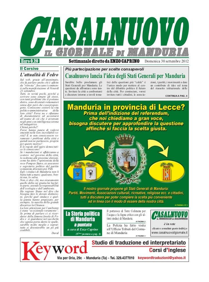 Domenica 30 settembre 2012Il Corsivo                             Più partecipazione per scelte consapevoliL'attualità di F...