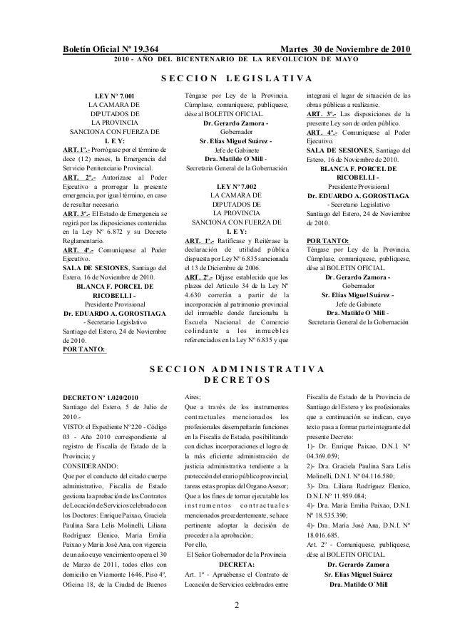 Boletín Oficial Nº 19.364 Martes 30 de Noviembre de 2010 2010 - AÑO DEL BICENTENARIO DE LA REVOLUCION DE MAYO 2 S E C C I ...