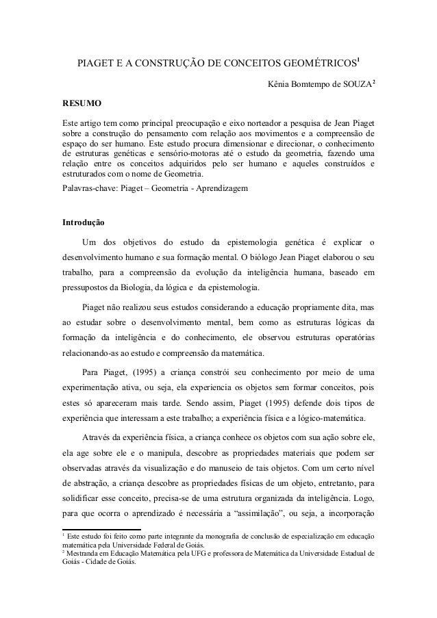 PIAGET E A CONSTRUÇÃO DE CONCEITOS GEOMÉTRICOS 1                                                                   Kênia B...