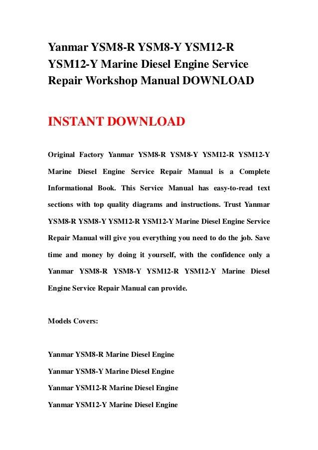 Yanmar Ysm8 R Ysm8 Y Ysm12 R Ysm12 Y Marine Diesel Engine Service Rep
