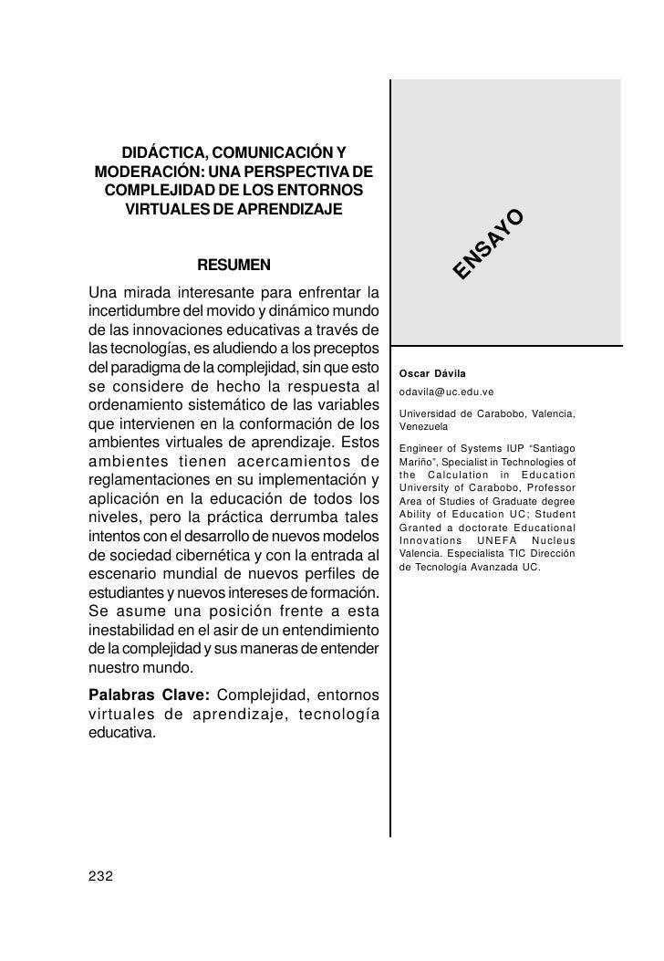 DIDÁCTICA, COMUNICACIÓN Y MODERACIÓN: UNA PERSPECTIVA DE  COMPLEJIDAD DE LOS ENTORNOS    VIRTUALES DE APRENDIZAJE         ...