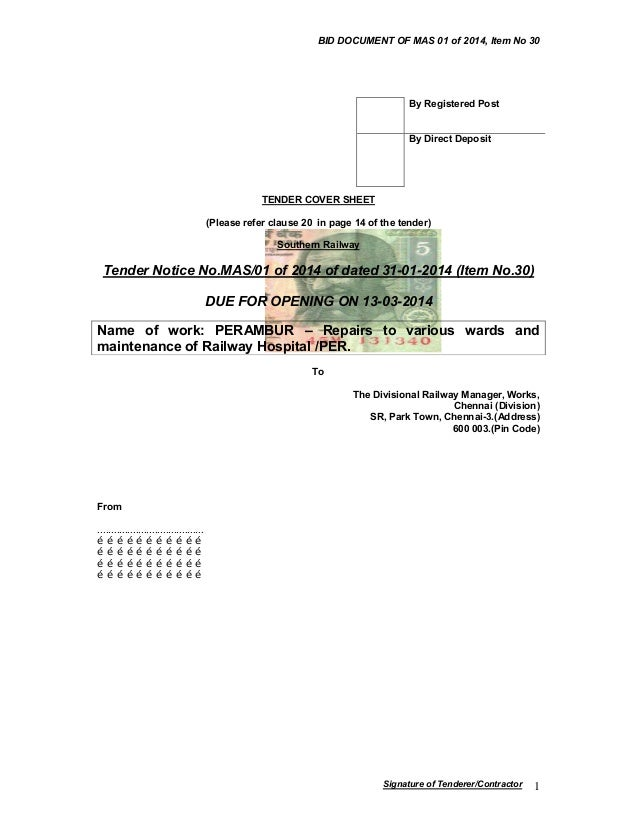 BID DOCUMENT OF MAS 01 of 2014, Item No 30  By Registered Post  By Direct Deposit  TENDER COVER SHEET (Please refer clause...