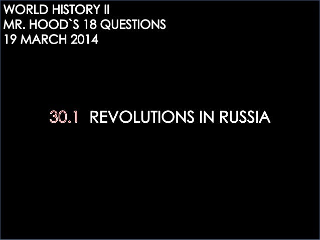 WHTWO: REVOLUTIONS IN RUSSIA QUESTIONS
