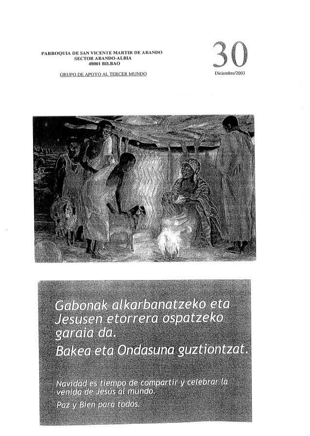 PARROQUIA DE SAN VICENTE MARTIR DE ABANDO SECTOR ABANDÓ-ALBIA 48001 BILBAO     GRUPO DE APOYO AL TERCER MUNDO Diciembre/ Z...