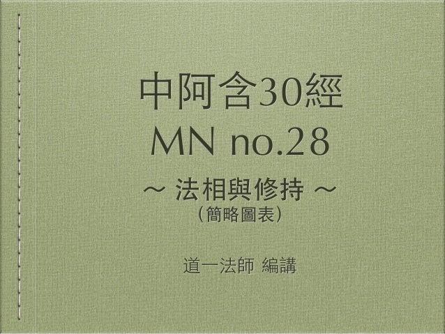 中阿含30經 MN no.28 ~ 法相與修持 ~ (簡略圖表) 道⼀一法師 編講