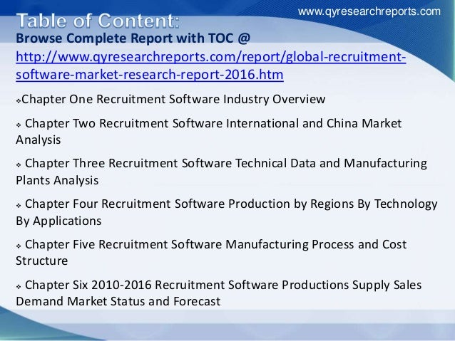Browse Complete Report with TOC @ http://www.qyresearchreports.com/report/global-recruitment- software-market-research-rep...