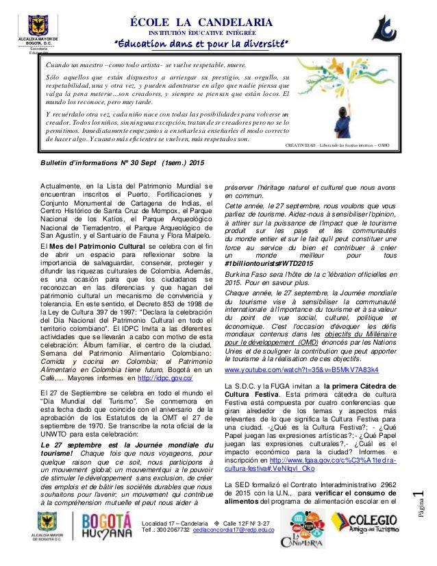 """ÉCOLE LA CANDELARIA INSTITUTIÓN ÈDUCATIVE INTÉGRÉE """"Éducation dans et pour la diversité"""" Localidad 17 – Candelaria  Calle..."""