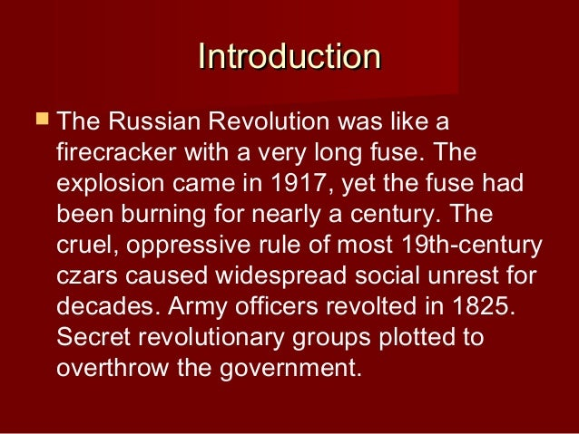 an introduction to the steps towards the russian revolution Introduction the revolution that shook the world  the bolsheviks take power  trotsky describes in his history of the russian revolution how meetings were.