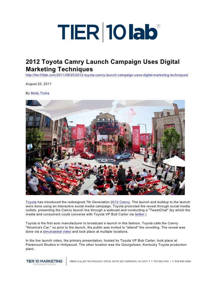 2012 Toyota Camry Launch Campaign Uses DigitalMarketing Techniqu...