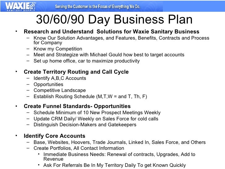 30/60/90 Day Business Plan Research and Understand Solutions for Waxie ...