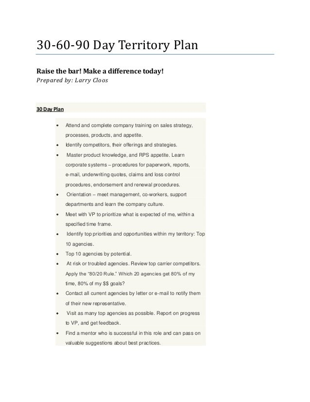 Larrys 306090 Day Territory Plan – 30 60 90 Day Action Plan Template