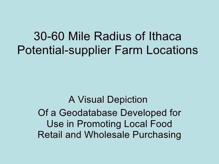 30-60 Mile Radius of Ithaca Potential-supplier Farm Locations A Visual Depiction  Of a Geodatabase Developed for Use in Pr...