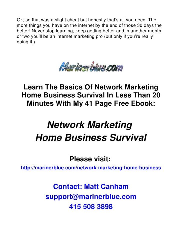 Your 30 Day Blueprint To Home Based Business Success!