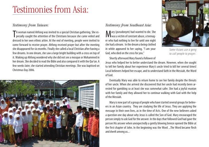 Testimonies from Asia: Testimony from