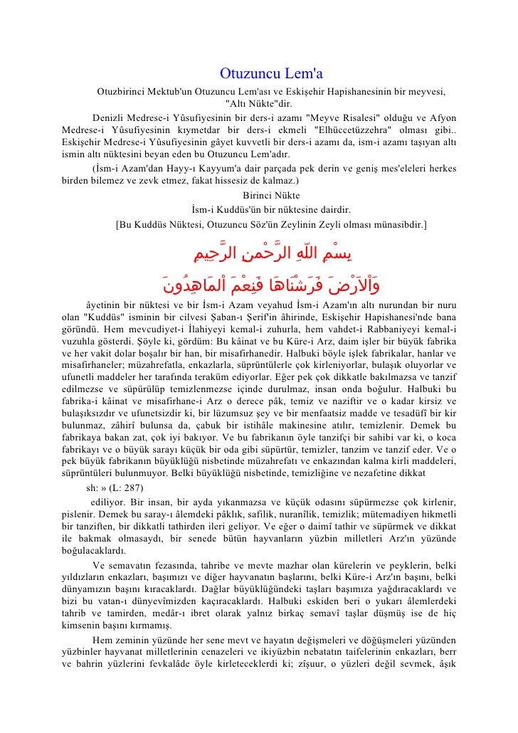 Otuzuncu Lem'a          Otuzbirinci Mektub'un Otuzuncu Lem'ası ve Eskişehir Hapishanesinin bir meyvesi,                   ...