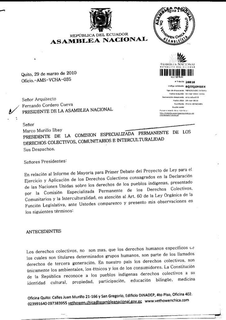 30 mar-2010 observaciones informe primer debate proyecto ley para el ejercicio y aplicacion de los derechos colectivos