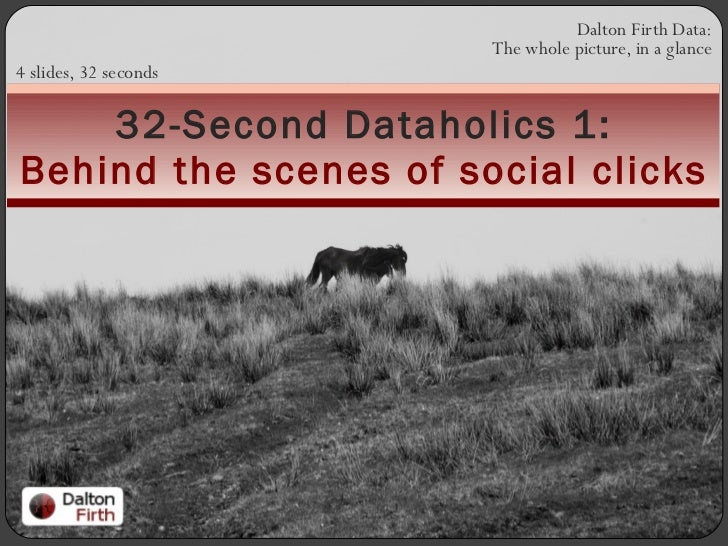 Dalton Firth Data: The whole picture, in a glance 4 slides, 32 seconds 32-Second Dataholics 1: Behind the scenes of social...